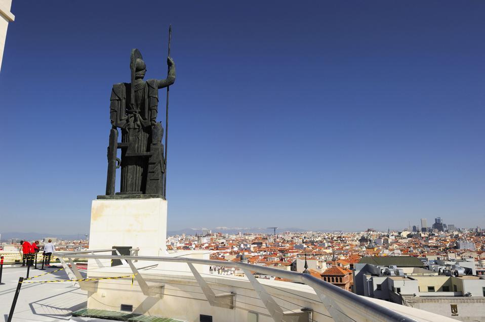 Spain, Madrid, Circulo de Bellas Artes, Athena statue