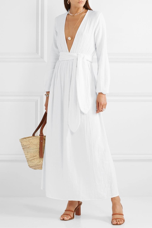 Mara Hoffman Luna Belted Crinkled Organic Cotton-Gauze Maxi Dress