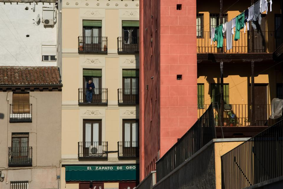 Buildings in the Lavapies district of Madrid