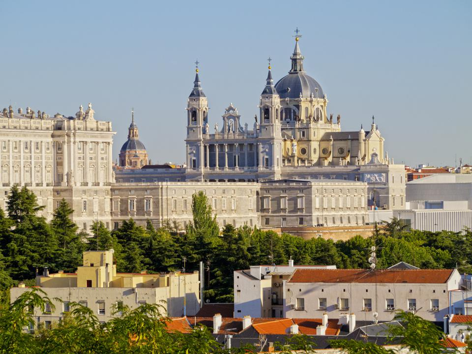 Spain, Madrid, Cathedral of Saint Mary and Royal Palace of Madrid