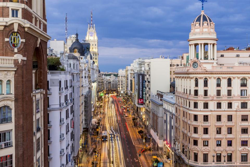 Spain, Madrid, La Latina district overlooking the Gran Via