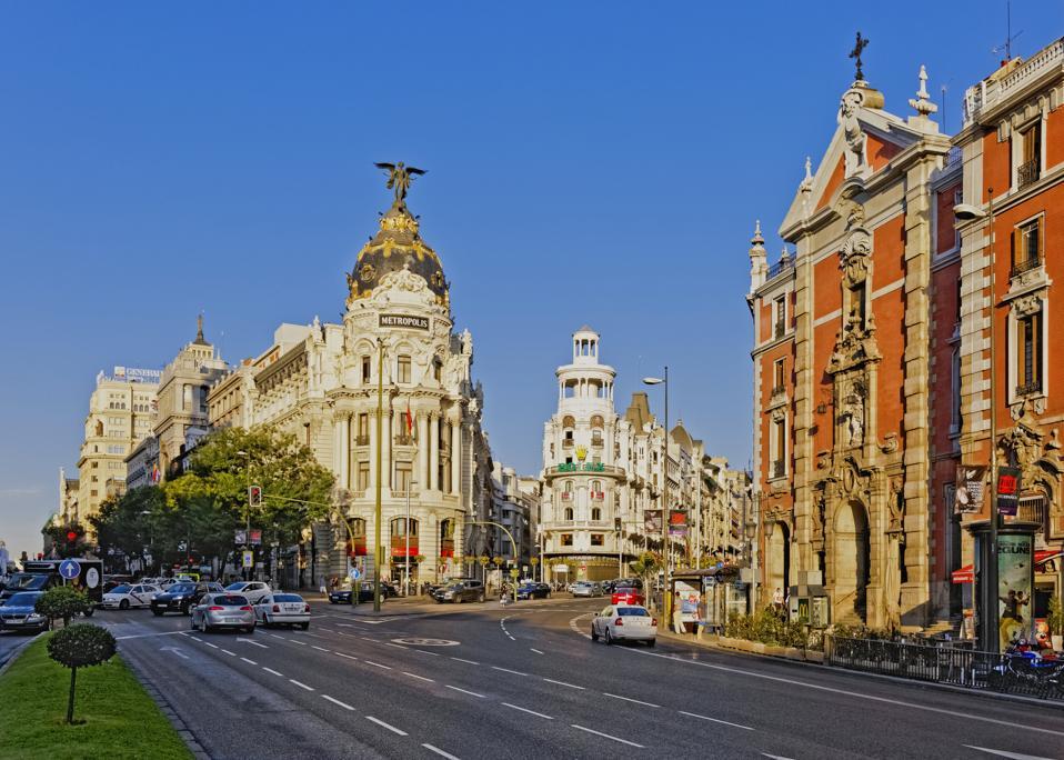 Metropolis Building on Grand Via in Madrid