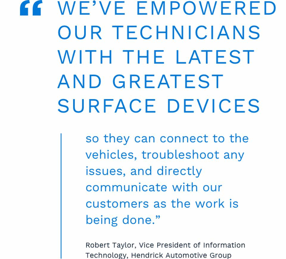 We've empowered our technicians with the latest and greatest Surface devices so they can connect to the vehicles, troubleshoot any issues, and directly communicate with our customers as the work is being done.""