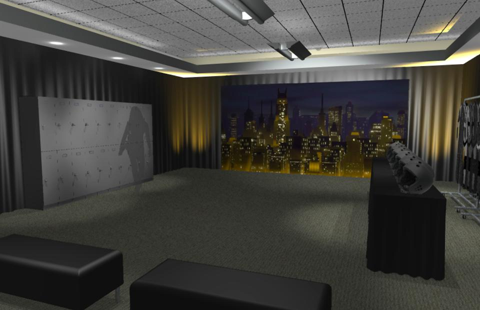 The suit-up lair for ″The Dark Knight Dive″ at the AT&T and DC Comics ″The Batman Experience″