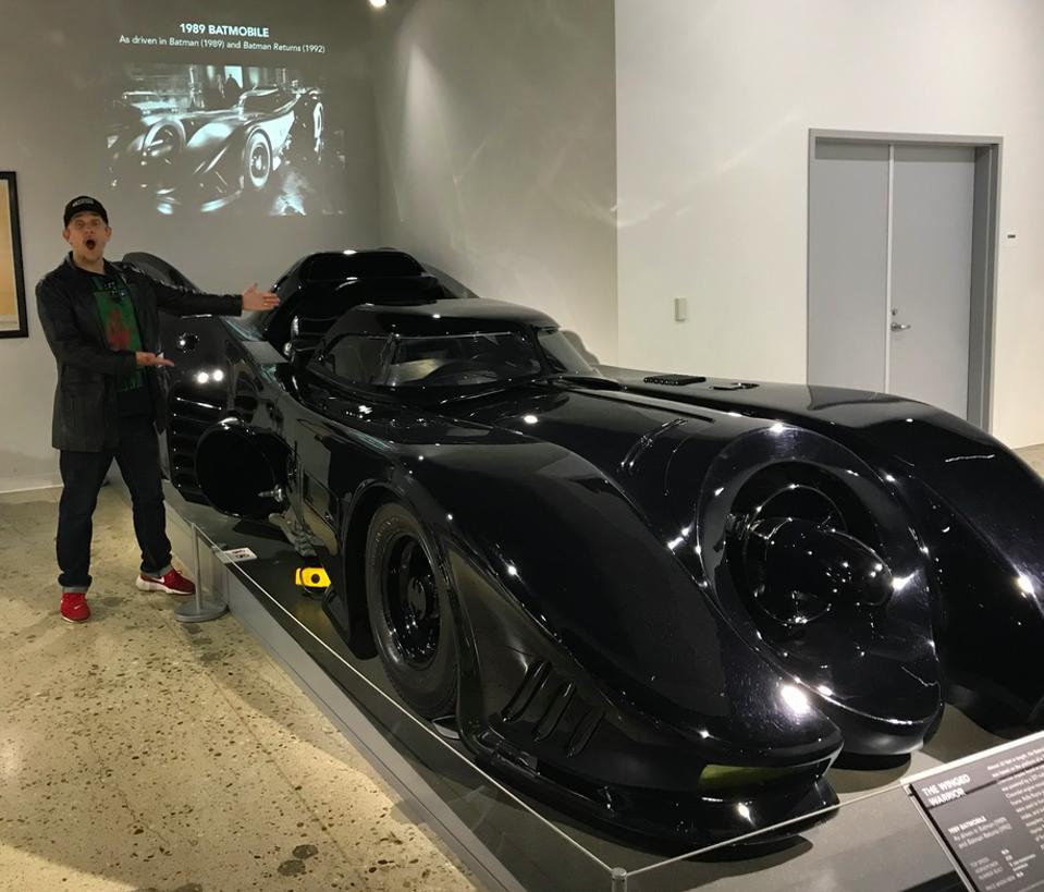 Mark Hughes admiring the Batmobile from the 1989 Warner Bros. film ″Batman″