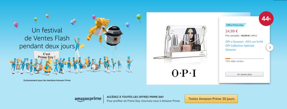 A promotion for OPI Products on Amazon's french website on Prime Day.