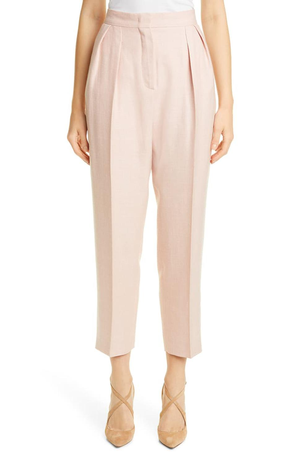Max Mara Mantide Pleated Silk, Linen & Wool Crop Pants