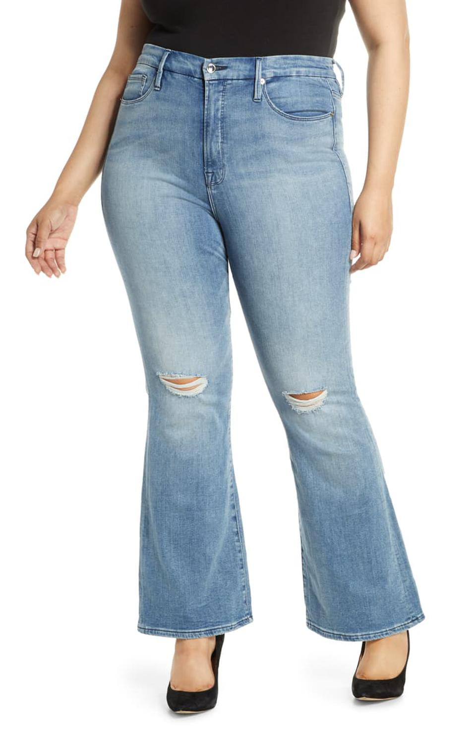 Good American Good Flare Ripped Jeans
