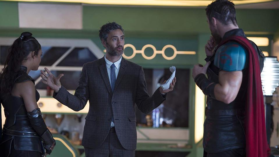 Taika Waititi, Chris Hemsworth and Tessa Thompson on the set of 'Thor: Ragnarok.'