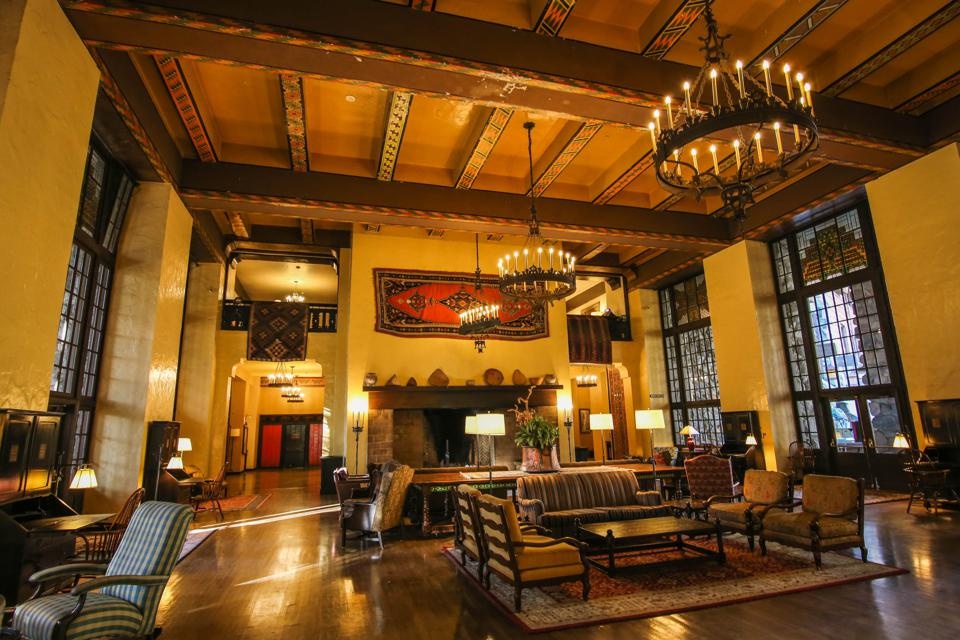 The lobby of the Ahwahnee Hotel