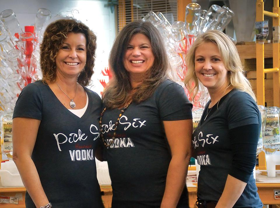 The three co-owners of Courage Distillery: Kellie (Fisher (left) Serene Mastrianni, Holly Shishik