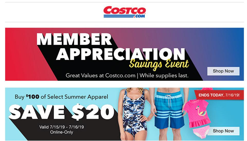 An email from Costco to its members on July 16th, promoting its Member Appreciation event.