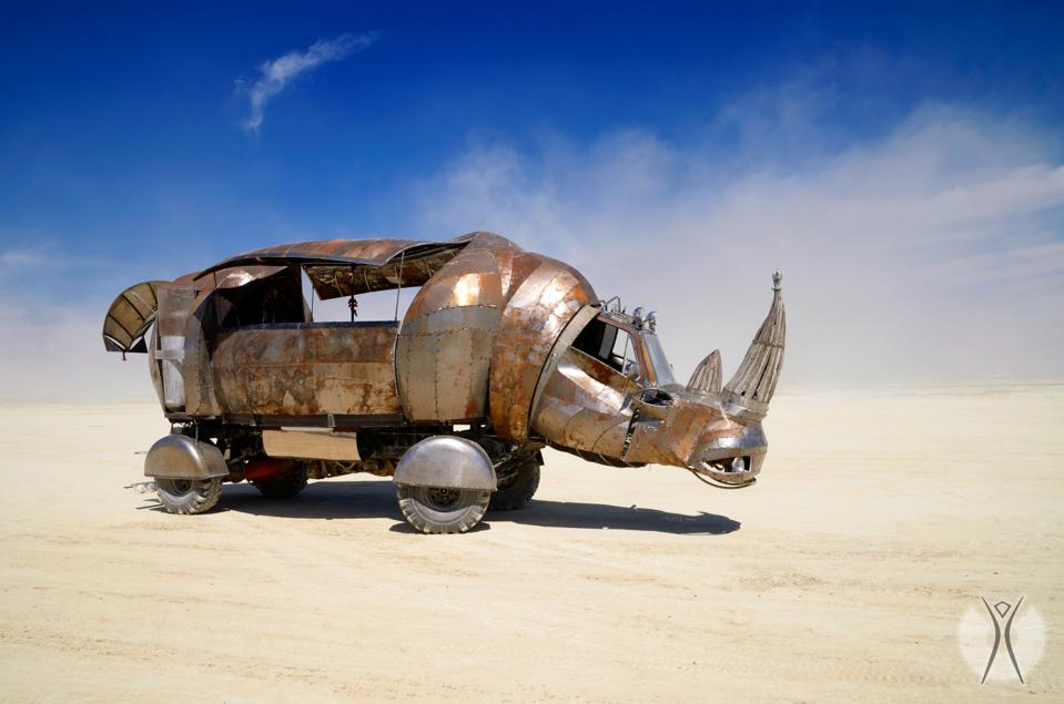 ″Rhino Redemption″ mutant art car from Philippe Glade's book ″Black Rock City, NV  The New Ephemeral Architecture of Burning Man″