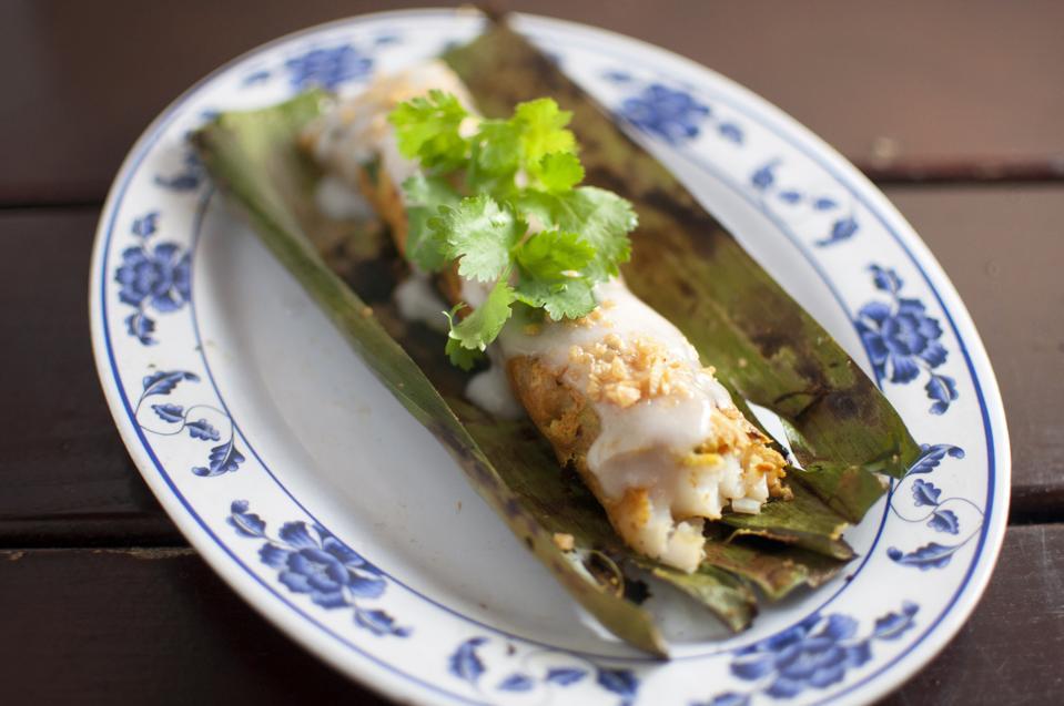 Pig & Khao's cod in banana leaf