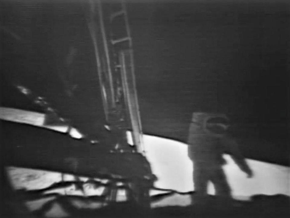 A live television image of Neil Armstrong on the surface of the moon