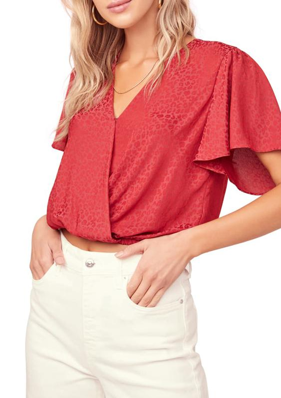 ASTR the Label Short Sleeve Jacquard Top
