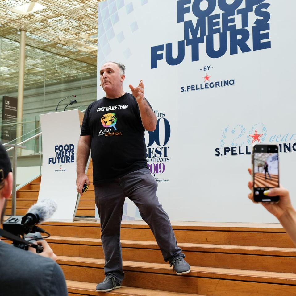José Andrés speaks to World's 50 Best attendees.
