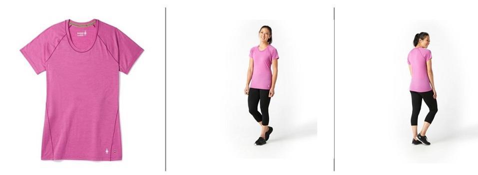 Smartwool Merino 150 Base Layer Micro Stripe Short Sleeve T-shirt in pink