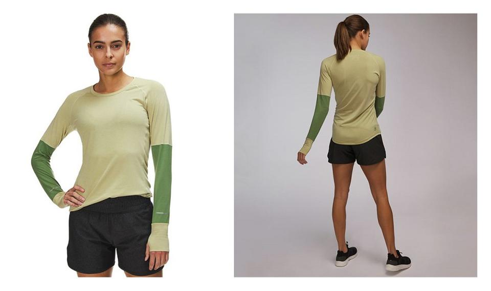 Backcountry La Sal Long-Sleeve Active T-Shirt on woman, front & back, in yellow with green sleeves