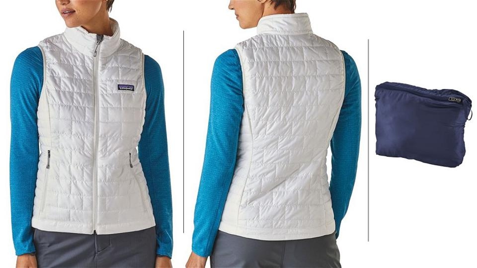 Patagonia Nano Puff Vest, on model in white, and in stuff sack in blue