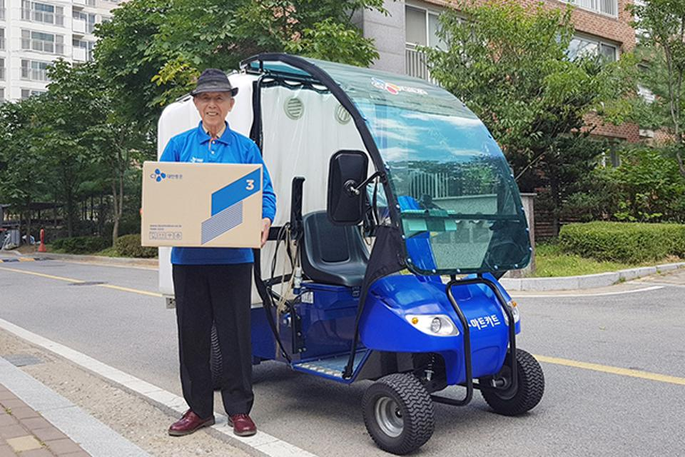 More than 1,400 CJ Logistics employees age 60 and older deliver packages within their own apartment complexes in South Korea.
