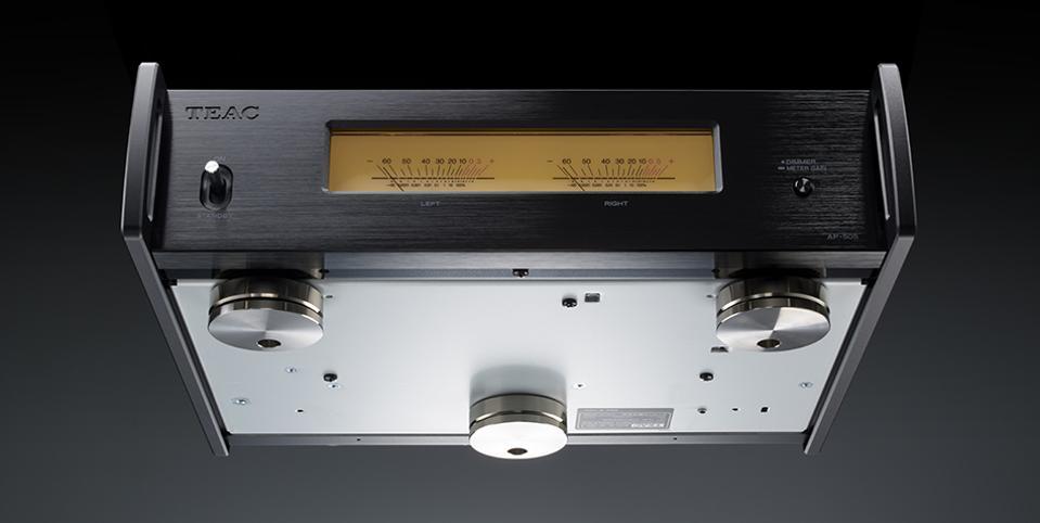 Underside view of TEAC's AP-505, a new mini power amplifier.
