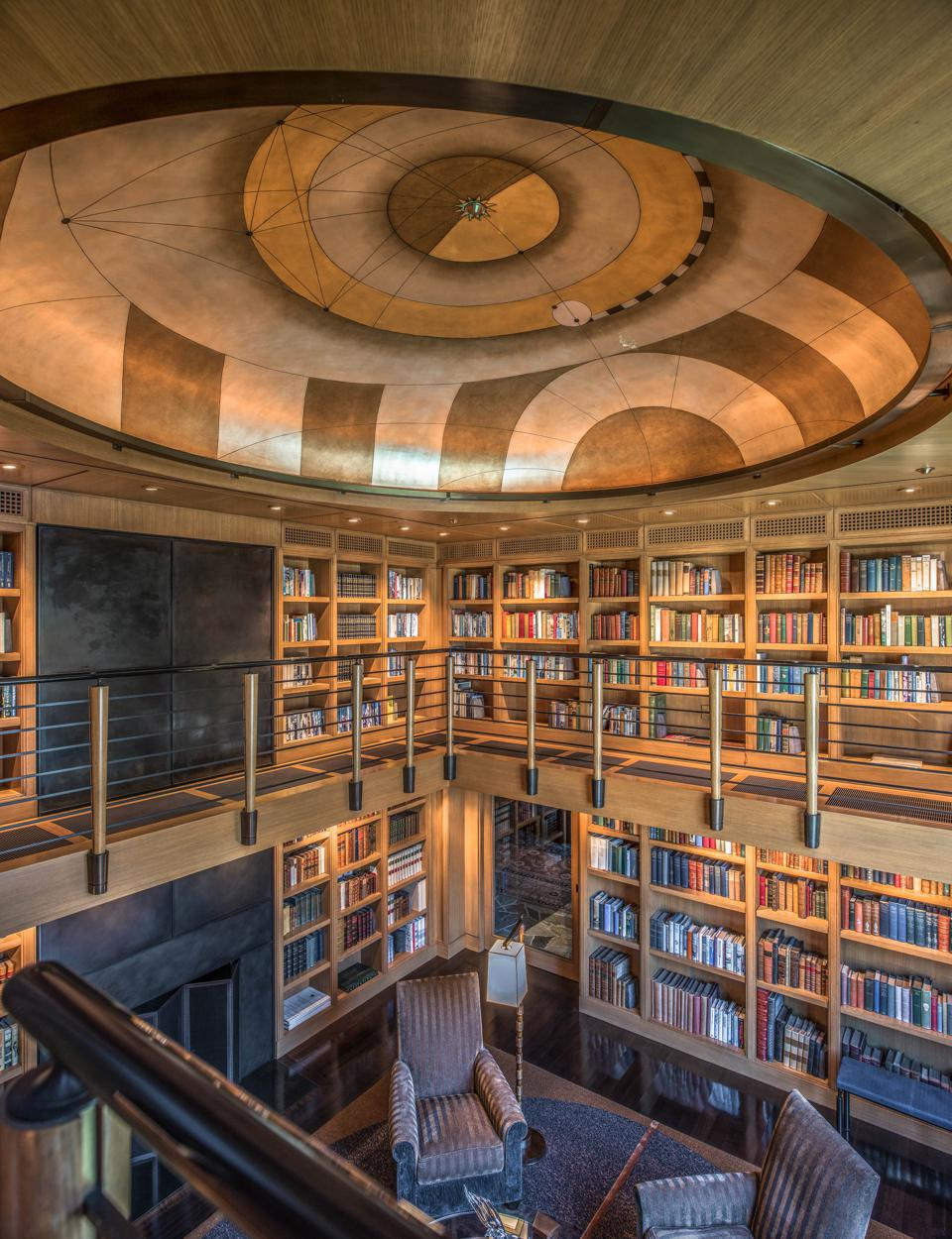 SevenCoves Lodge Library With Kepler-inspired ceiling