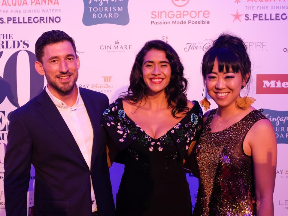 Daniela Soto-Innes, World's Best Female Chef, with chef Blaine Wetzel and writer Leiti Hsu.