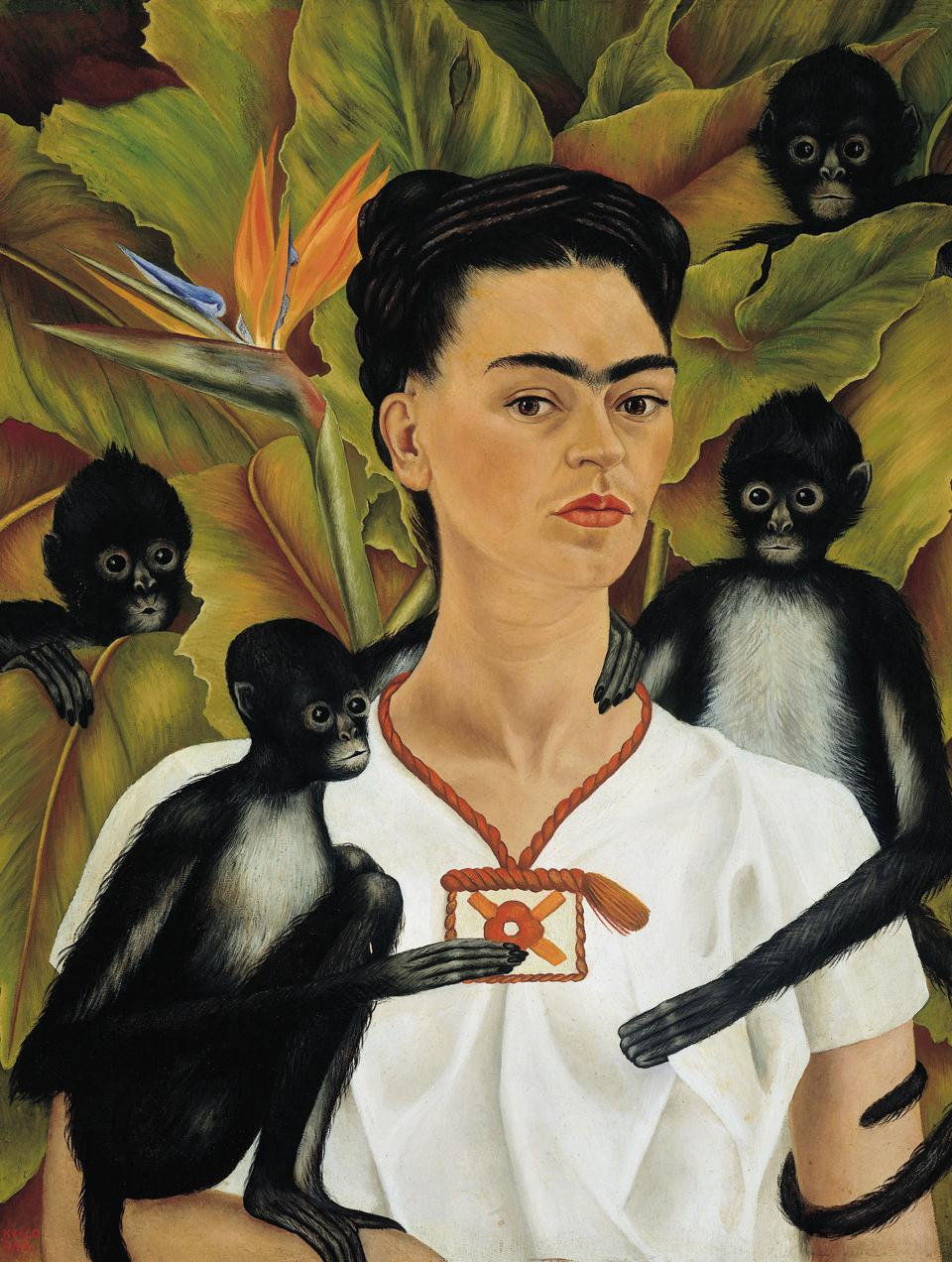 Frida Kahlo (Mexican, 1907–1954). Self-Portrait with Monkeys, 1943. Oil on canvas, 32 1/8 x 24 3/4 in. The Jacques and Natasha Gelman Collection of 20th Century Mexican Art and the Vergel Foundation.