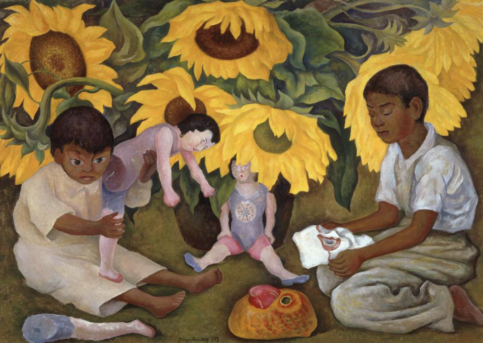 Diego Rivera (Mexican, 1886–1957). Sunflowers, 1943. Oil on canvas, 35 3/8 x 51 1/8 in. The Jacques and Natasha Gelman Collection of 20th Century Mexican Art and the Vergel Foundation.