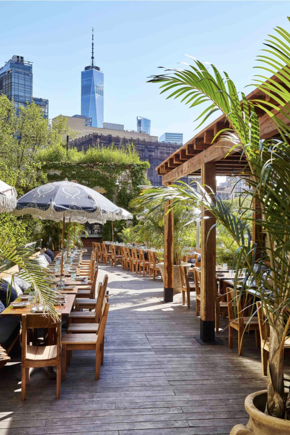 A Jungle Room terrace at Gitano at the James New York-Soho.
