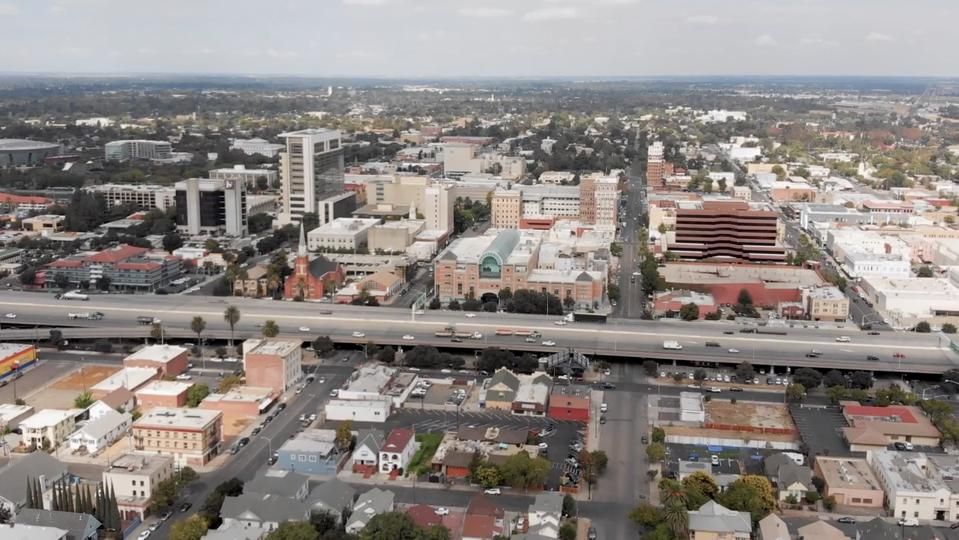 An image of the skyline of Stockton, California.