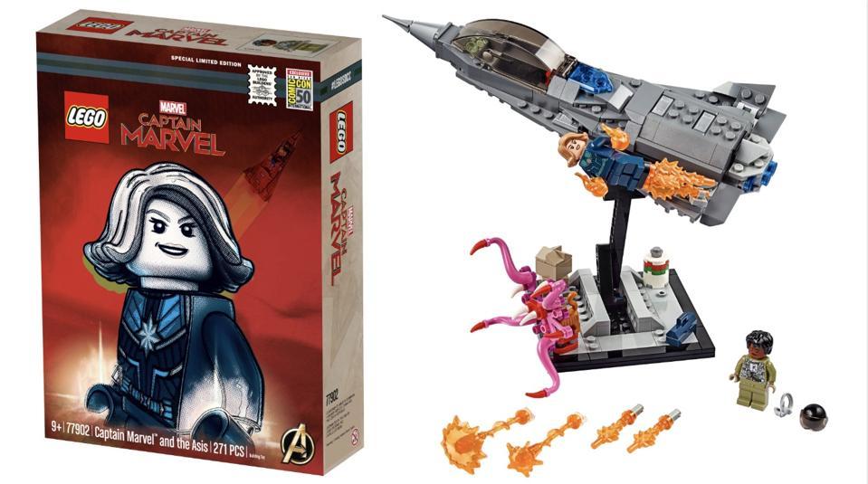 Captain marvel lego mini-figure and asis set for san diego comic-con 2019