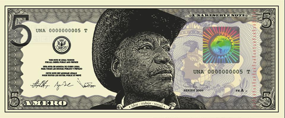 Anthony Thompson Shumate. Five Dollar Amero Bill Proof, 2012. Courtesy of the artist and the Galveston Arts Center.