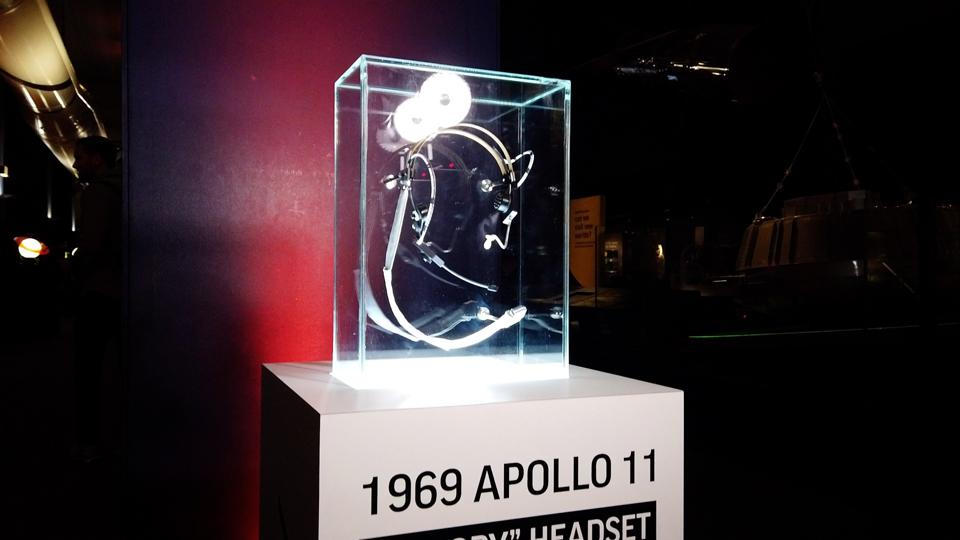 A replica of  Plantronics' ″Snoopy headset″ exhibited at The Science Museum in London.