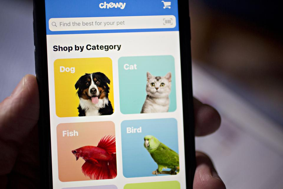 A photo of the Chewy mobile application