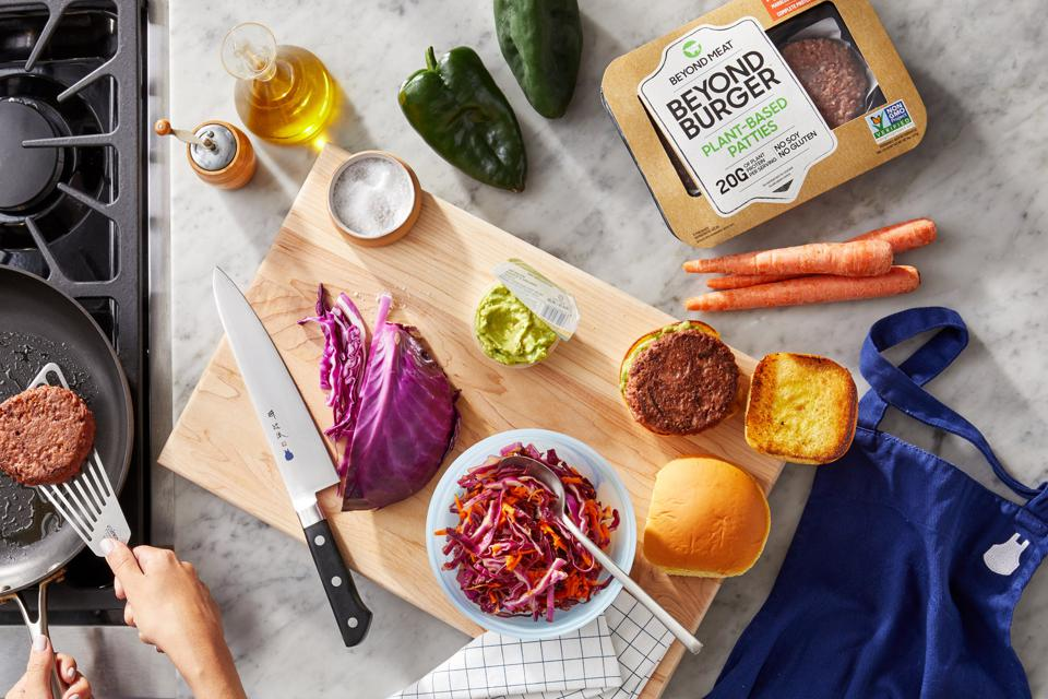 Blue Apron is partnering with Beyond Meat to add plant-based patties to their recipes.