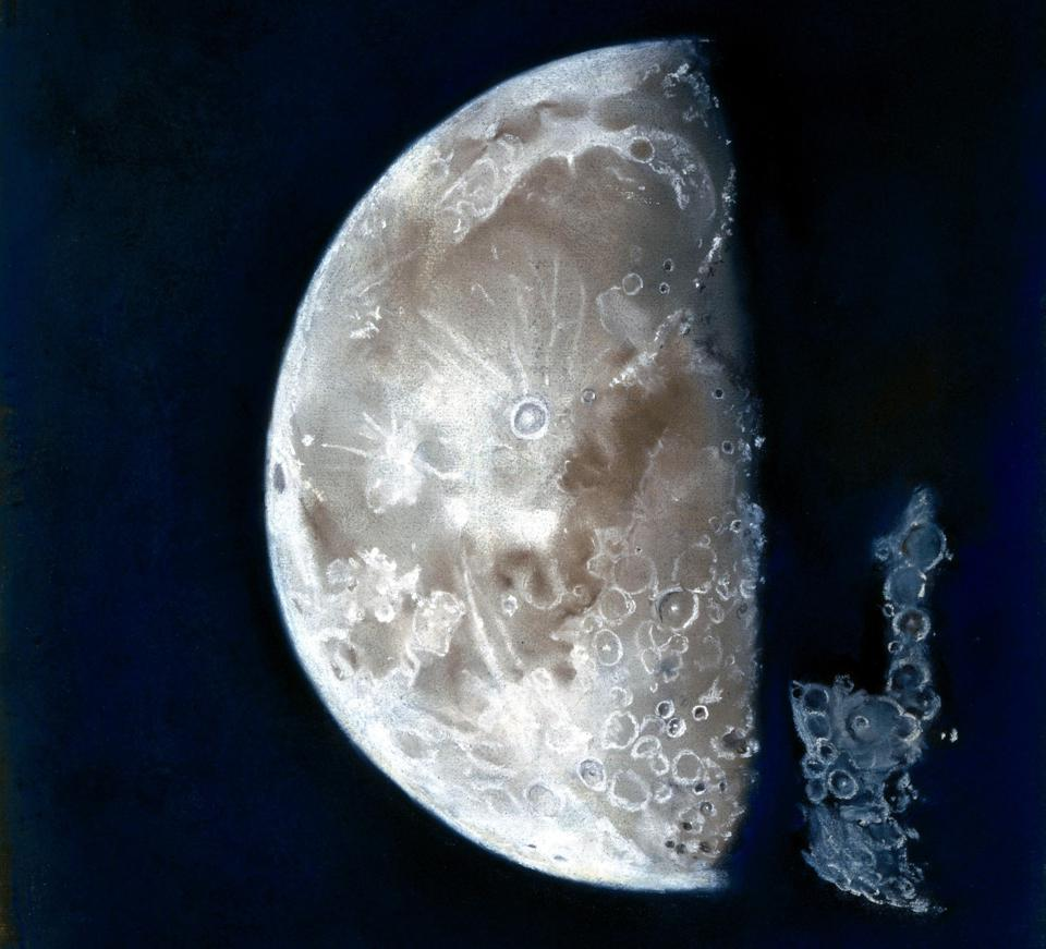 Pastel drawing of the moon