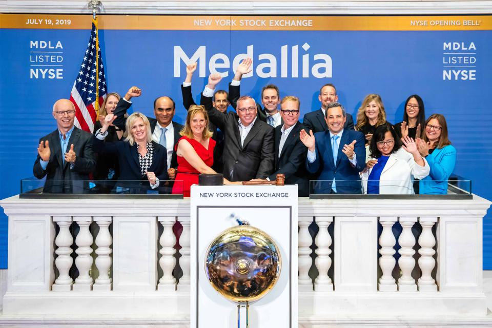 Medallia CEO Leslie Stretch and founders Amy Pressman and Borge Hald rang the NYSE bell.