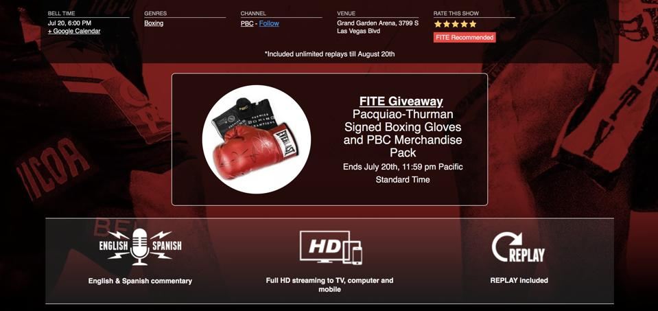 FITE TV is providing fans with the opportunity to win signed Pacquiao and Thurman gloves and PBC merchandise.