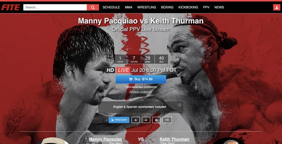 FITE TV offers an official stream in HD to watch Manny Pacquiao and Keith Thurman