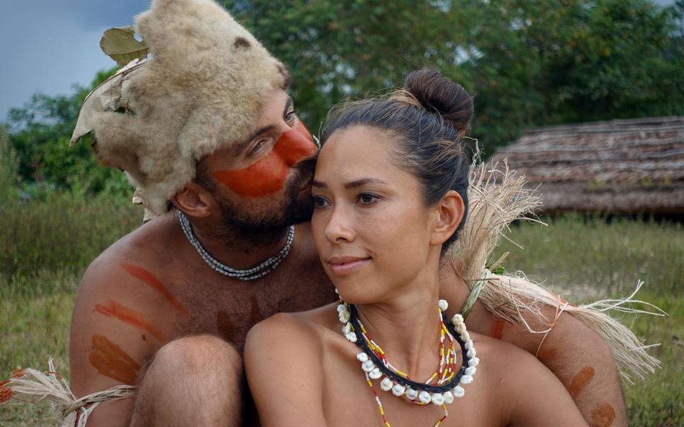 Tim Noonen and PJ Madam, post ritual in the Southern highlands of Papua New Guinea living with the Hewa people