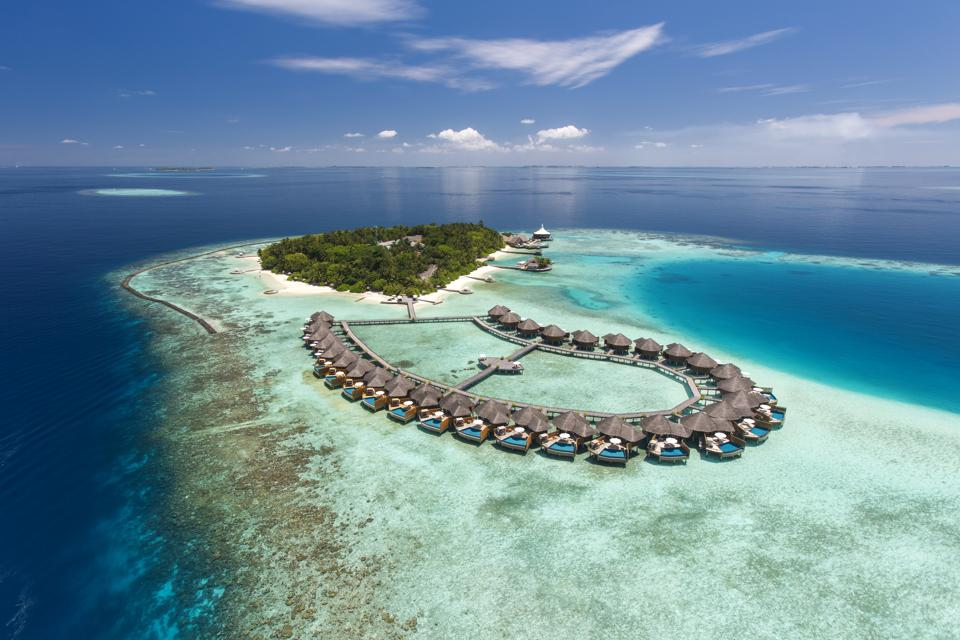 An aerial view of Baros in Maldives