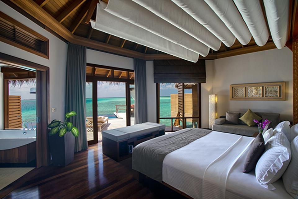 Well appointed interiors of the Water Pool Villas at Baros