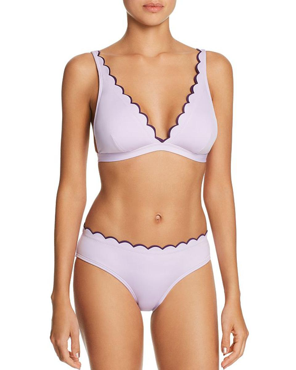 Kate Spade New York Contrast Scalloped French Bikini Top and Hipster Bikini Bottoms