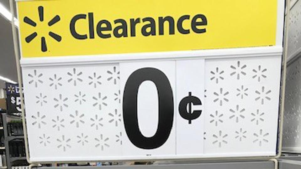 Clearance sign depicting a price of 0 cents