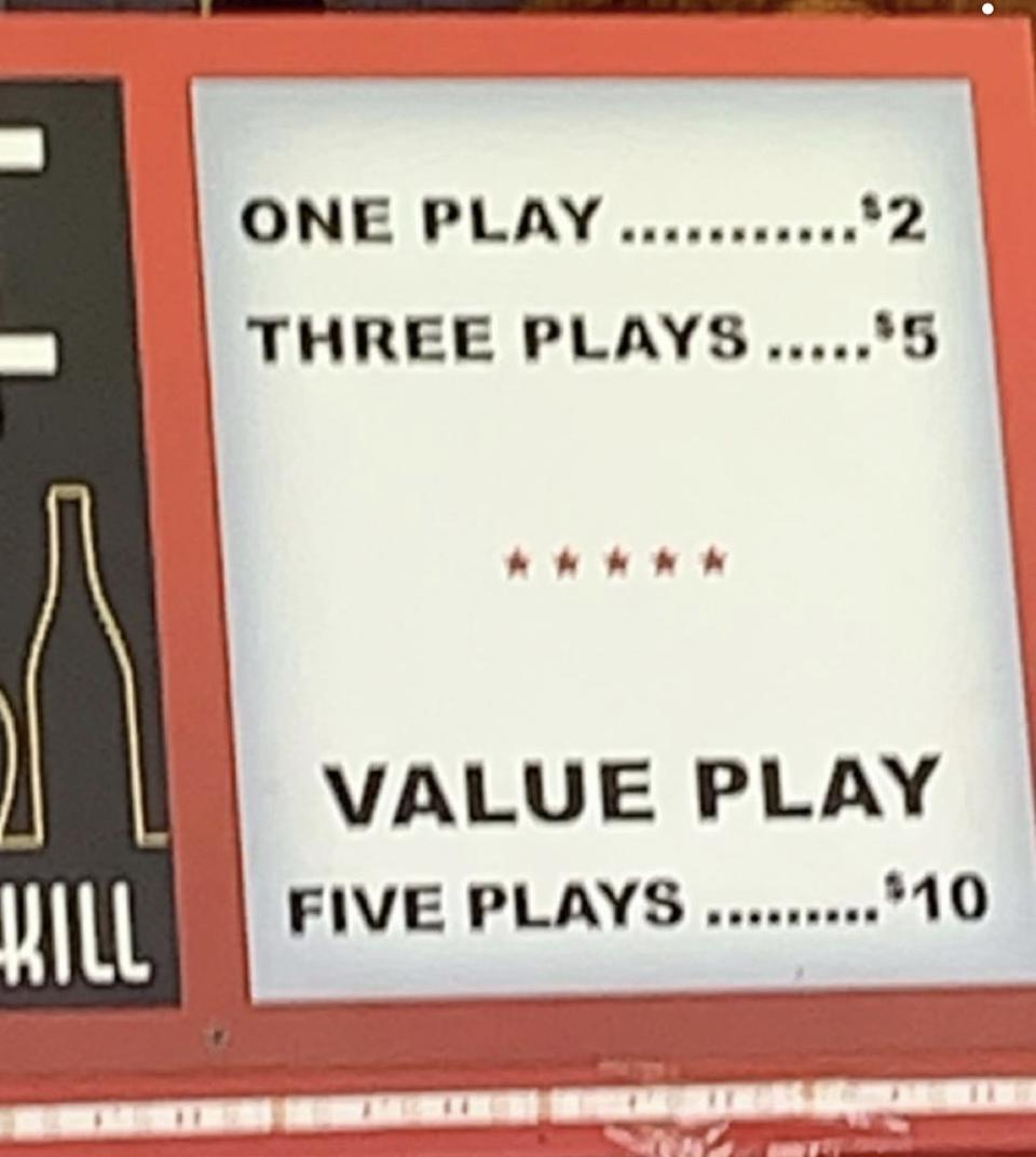 A sign depicting a ″Value Play″ that isn't really a value.