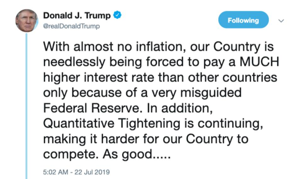 Trump's tweet about the Fed