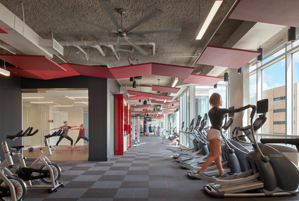 Gensler Aspire Texas A&M student housing fitness center.