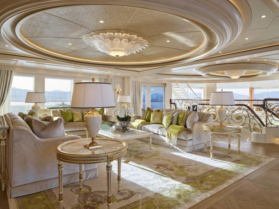 Exclusive photos of the owners deck salon aboard the 365-foot-long superyacht, TIS.